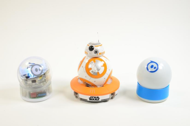 Sphero's BB-8 next to its other ball-shaped robots.