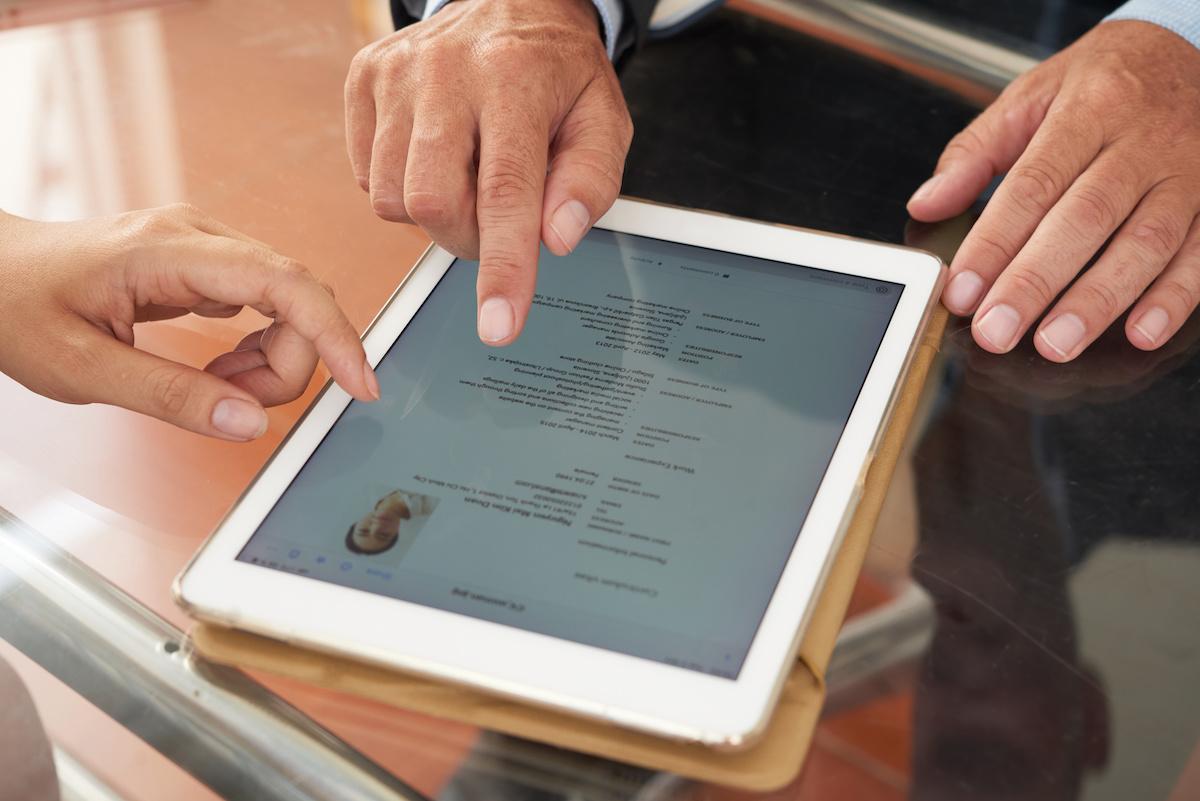 Professional resume on an iPad